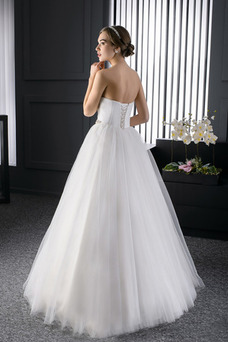 Robe de mariée De plein air Longue Lacet Formelle Ruché Taille Naturel