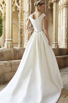 Robe de mariée Col U Profond Manche Courte A-ligne Satin Cristal Salle