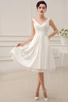 Robe de mariée Plage Plissé Lacet A-ligne Col en V Informel