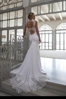 Robe de mariée Sexy Satin Élastique Sans Manches Col haut Dos nu Ruché
