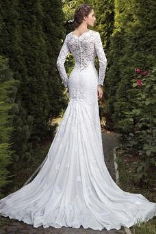 Robe de mariée Fourreau Classe Zip Longue Appliques Manche Aérienne