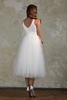 Robe de mariée Plage Sans Manches Taille Naturel Ceinture en Étoffe
