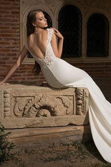 Robe de mariée Plage Taille Naturel Elégant Longue Mancheron Col Bateau