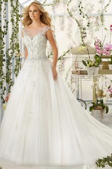 Robe de mariée Mancheron Perle A-ligne Taille Naturel Traîne Courte