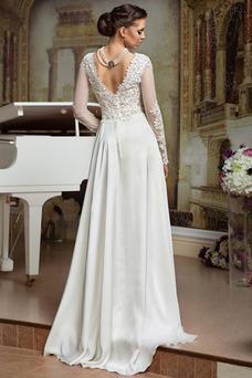 Robe de mariée Printemps Taille Naturel Sexy Satin Élastique Manche Longue