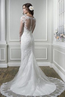 Robe de mariée Traîne Mi-longue Gaze Tissu Dentelle De plein air Manche Aérienne