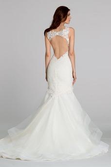 Robe de mariée Appliques Tissu Dentelle Zip Col en V Taille Naturel