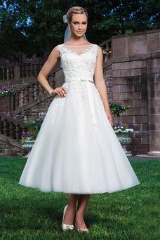 Robe de mariée Plage Glamour Organza Sans Manches Longueur Mollet