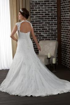 Robe de mariée dentelle grande taille Longue Salle Col en V Formelle