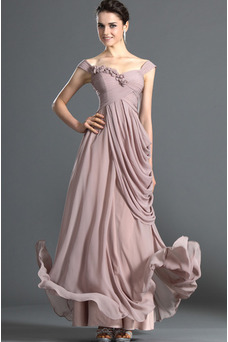 Robe de soirée Mousseline Bébé rose Empire Taille Naturel Mancheron