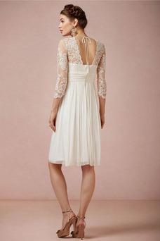 Robe de mariée 3/4 Manche Taille Empire Glamour Longueur Genou Manche Aérienne