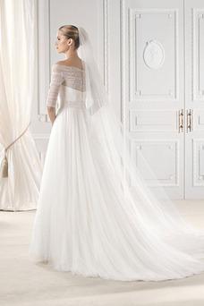Robe de mariée Tulle Longue 1/2 Manche Taille Naturel A-ligne Automne
