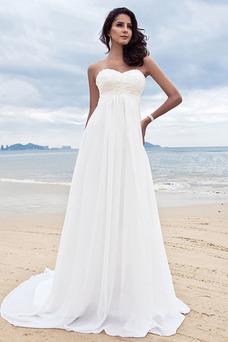 Robe de mariée Simple Plissé Taille Empire Col en Cœur Longue Zip