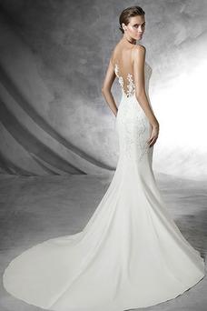 Robe de mariée Traîne Mi-longue Gaze Avec voile Chic Automne Sans Manches
