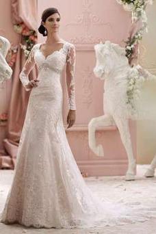Robe de mariée Sirène Manche Aérienne Haut Bas Taille Empire Automne
