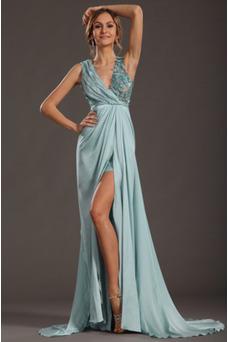Robe habillée pour mariage Taille Empire Fleurs Exclusif Traîne Moyenne Glamour