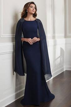 Robe mère de mariée Taille Naturel Haute Couvert Mousseline Col Bateau