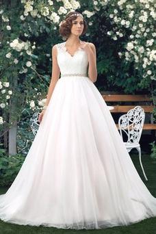 Robe de mariée Perle Taille Naturel Satin Vintage Traîne Mi-longue