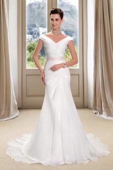 Robe de mariée Ruché Été Elégant Traîne Mi-longue Zip Col en V