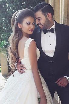 Robe de mariée Luxe Tulle Longue Printemps Zip Larges Bretelles