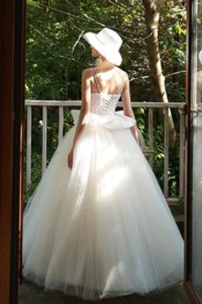 Robe de mariée Taille Naturel Lacet Automne Bretelles Spaghetti Ruchés Plongeants