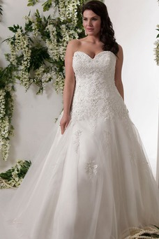 Robe de mariée Grande Taille Originale Salle Perle A-ligne Taille chute