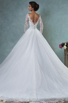 Robe de mariée Manche Aérienne Eglise Manche Longue Appliques Zip
