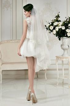 Robe de mariée Courte Avec voile Appliques Tulle Plage Informel