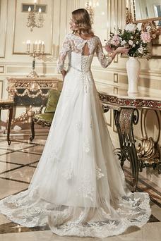 Robe de mariée Tulle Haut Bas Printemps Traîne Courte 3/4 Manche Manche Aérienne