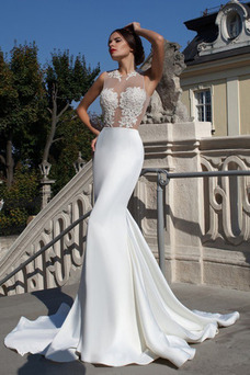 Robe de mariée Sexy Automne De plein air Col ras du Cou Fourreau Traîne Courte