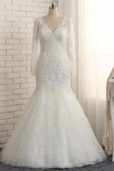 Robe de mariée Fourreau Avec Bijoux Salle Manquant Manche Aérienne