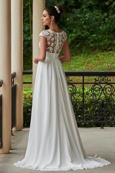 Robe de mariée Tissu Dentelle A-ligne Longue Ample & Ornée Manche Courte