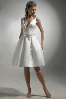 Robe de mariée Ceinture en Étoffe Printemps Col en V Foncé Milieu