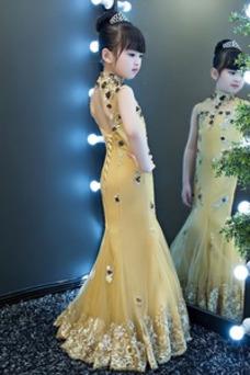 Robe cérémonie fille Été Col haut Au Drapée Sirène Tissu Dentelle Longue