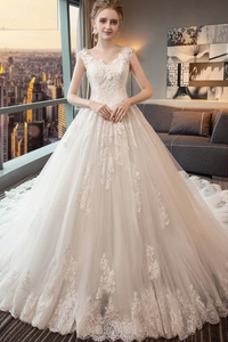 Robe de mariée Luxe Printemps Taille Naturel Satin Manquant Col en V