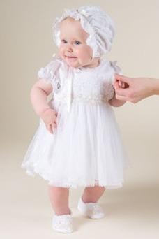 Robe cérémonie fille Princesse Appliques Couvert de Dentelle Printemps Taille Naturel