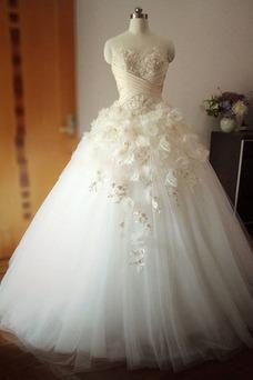 Robe de mariée Hiver Traîne Mi-longue Sans Manches Col en Cœur Mode de Bal