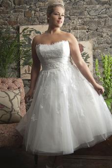 Robe de mariée Longueur Mollet Appliques De plein air Informel Sans Manches