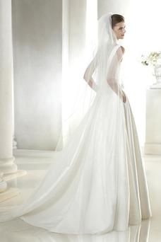 Robe de mariée Traîne Mi-longue A-ligne Satin Poches Sans Manches
