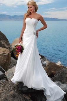 Robe de mariée A-ligne Longueur ras du Sol Zip Glamour Ouverture Latérale