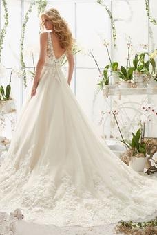 Robe de mariée Taille Naturel Longue Milieu Haut Bas Sans Manches