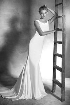 Robe de mariée Plage Bouton Col ras du Cou Zip Longue Satin Élastique