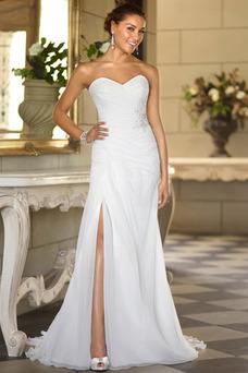 Robe de mariée Longue Sans Manches Dos nu Simple De plein air Ouverture Frontale