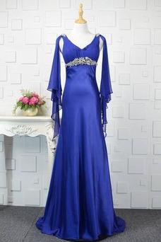 Robe de soirée Fourreau Avec Bijoux Manche Longue Satin Élastique