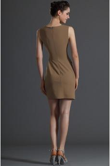Robe de cocktail 2015 Haute Couvert Sexy Plissé Taille Naturel Col ras du Cou