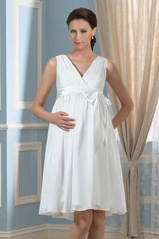 Robe de mariée Grandes Tailles Col en V Plage Été Orné de Nœud à Boucle