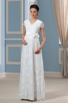 Robe de mariée Manche Courte Milieu Orné de Nœud à Boucle Empire Au Drapée