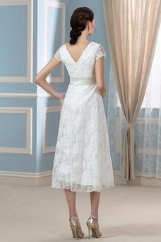 Robe de mariée Au Drapée Printemps Taille Empire Zip Tissu Dentelle