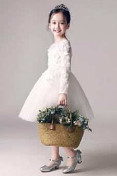 Robe cérémonie fille Couvert de Dentelle Printemps Col ras du Cou Taille Naturel