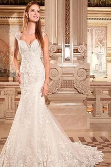 Robe de mariée Tissu Dentelle Col en V Sirène Longue Appliques Sans Ceinture